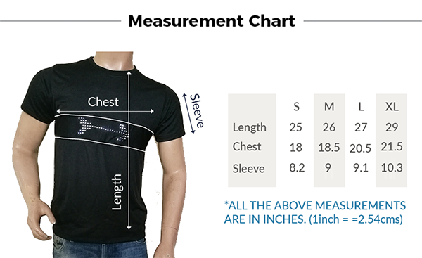 size table message t-shirts