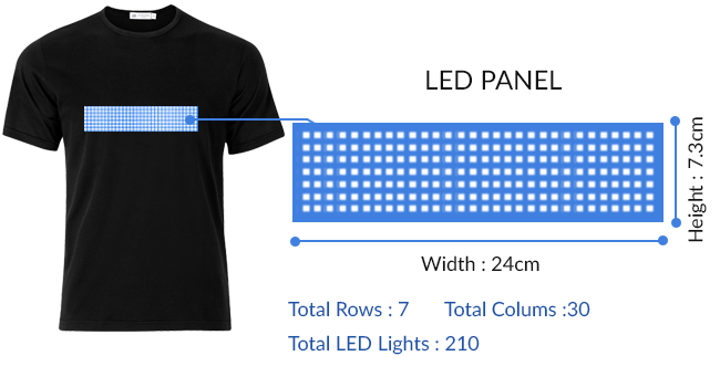 led t-shirt with programmable bluetooth text
